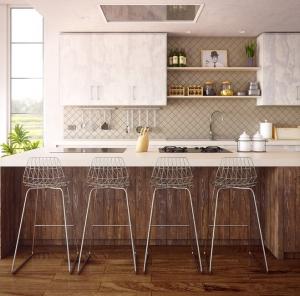 Keuken eiland met barstoelen